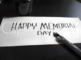 Happy Memorial day calligraphy and lettering post card. Perspective view. Hard letters.