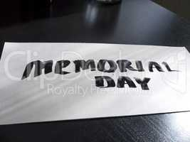Memorial day calligraphy and lettering post card. Perspective and clear view.