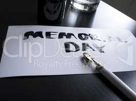 Memorial day calligraphy and lettering post glossy card. Perspective view.