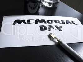 Memorial day calligraphy and lettering post card. Perspective view. Wild pen in calligraph.