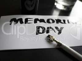 Memorial day calligraphy and lettering post card. Perspective and close-up view.