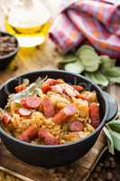 Cabbage braised with sausages, sauerkraut. German cuisine.
