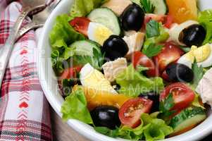 Vegetable salad with chicken and eggs