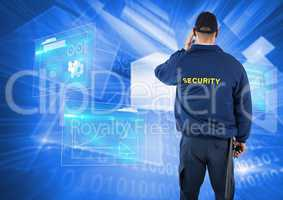 Rear view of security guard against screen