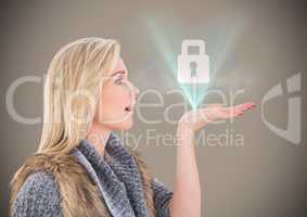 Woman with lock graphic and blue flare against brown background