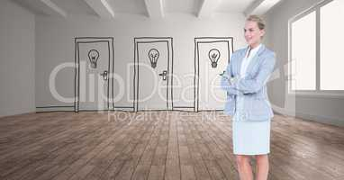 Businesswoman with arms crossed against drawn light bulbs on doors