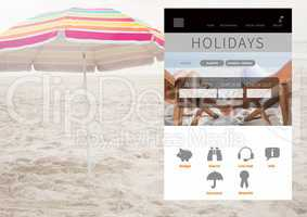 Holiday break App Interface on beach