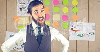 Hippie businessman with mouth open