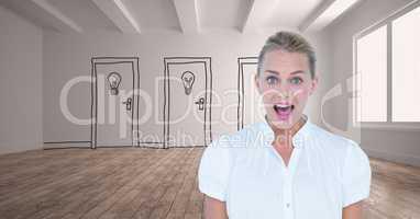 Businesswoman screaming against drawn doors