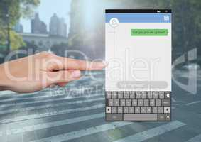 Hand Touching Social Media Messenger App Interface on street road pick up