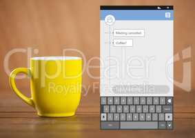 Social Media Messenger App Interface with coffee