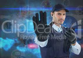 Security guard showing stop gesture while using radio