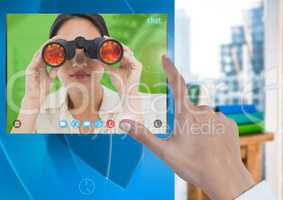 Hand touching Social Video Chat App Interface with woman holding binoculars