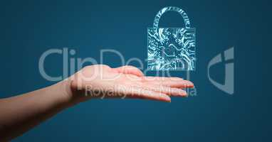 Hand with blue lock graphic over palm against blue background