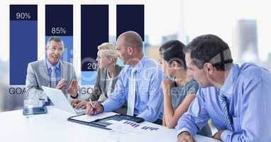 Businessman communicating with colleagues with graph in background