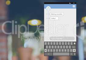 Social Media Messenger App Interface with Meeting coffee