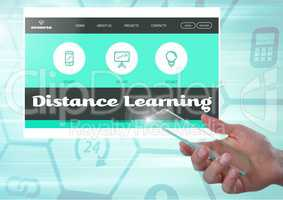 Hand with mobile phone touching a Distance Learning App Interface