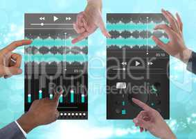 Many Hands Touching Collaborating Sound Music and Audio production engineering equalizer App Interfa