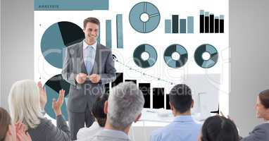 Man giving presentation to coworkers against graphs