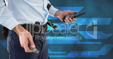 Midsection of security guard with radio
