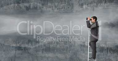 Businessman using binoculars on ladder against upside down city with clouds