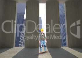 Architect standing at doorways