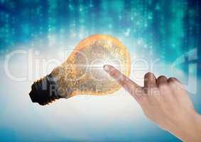 Hand Touching Light bulb fingerprint