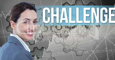 Smiling businesswoman by challenge text