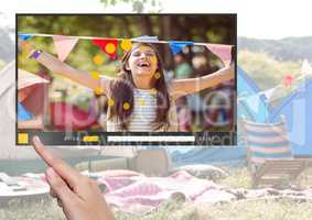 Hand touching Camping festival fun video player App Interface