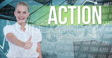 Businesswoman showing thumbs up by action text