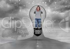 Irritated woman in light bulb over road