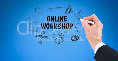 Businessman's hand drawing online workshop icons on blue background