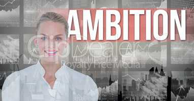 Smiling businesswoman with ambition text in background