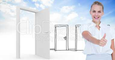 Smiling woman showing thumbs up against real and drawn doors