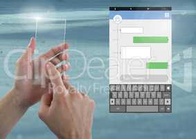 Hand Touching Glass Screen and Social Media Messenger App Interface