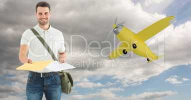 Delivery man giving parcel with airplane in background