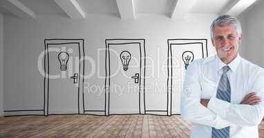 Businessman with arms crossed against drawn doors