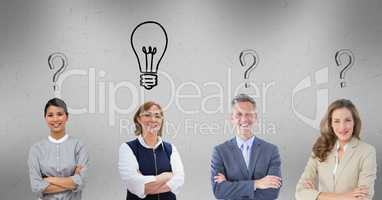 Business people with question marks and light bulb graphics over head