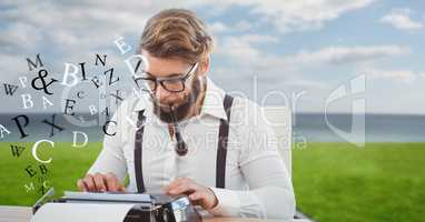Hipster smoking pipe while using typewriter by flying letters