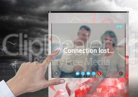 Hand touching Connection lost storm for Social Video Chat App Interface