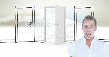 Businesswoman screaming against drawn and real doors