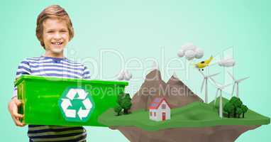 Happy boy carrying recycling crate by low poly cliff