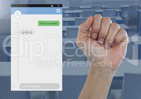 Hand in fist Social Media Messenger App Interface in students class