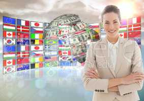 panel with flags and money earth. Happy business woman hand folded