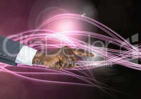 Hand Touching  air of  of magical atmospheric curves