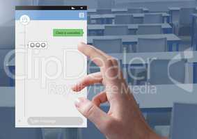 Hand Touching Social Media Messenger App Interface in class