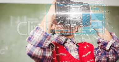 Digital composite image of tech graphs with man using VR glasses in background