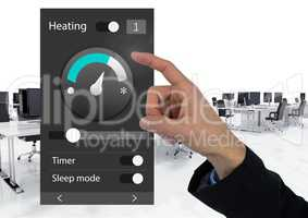 Hand Touching Office automation system heating App Interface