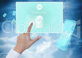 Hand Touching Identity Verify fingerprint mobile App Interface