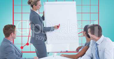 Woman giving presentation to colleagues against graph